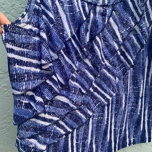 Rafaella Tops - Rafaella Blue & White Sleeveless Blouse Size XL